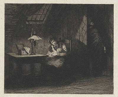 Woman With Child By Lamplight, Willem Steelink II Art Print by Willem Steelink Ii