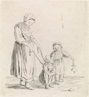 Christina Drawing - Woman With Child On Leash, Johannes Christiaan Janson by Johannes Christiaan Janson And Christina Chalon