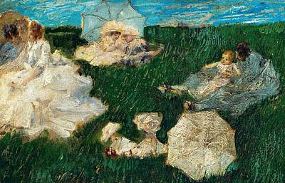 Woman With Children In Garden Art Print by Gaetano Previati