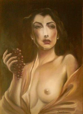 Woman With Diamond Earings Nude Portrait Original by Jelena Marinkovic