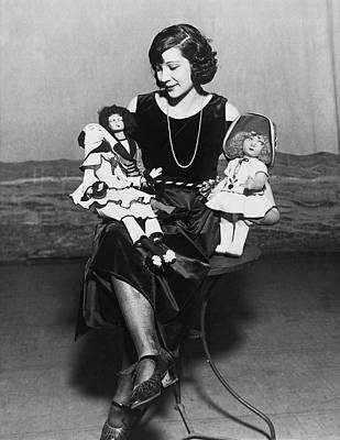 Photograph - Woman With Dolls by Underwood Archives