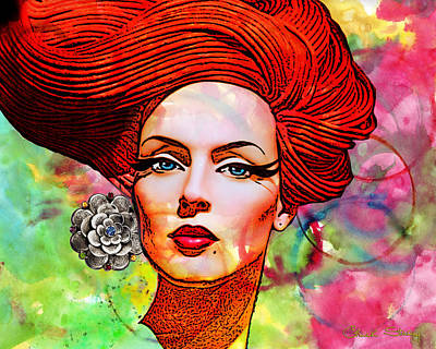Modern Mixed Media - Woman With Earring by Chuck Staley