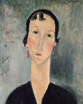Woman With Earrings Art Print by Amedeo Modigliani