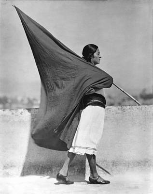 Mexico City Photograph - Woman With Flag, Mexico City, 1928 by Tina Modotti