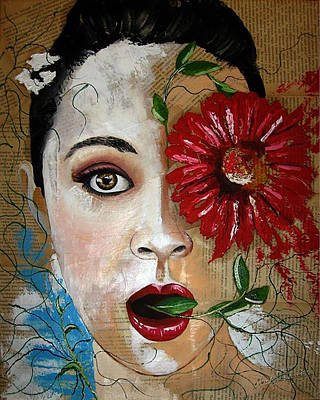 Book Painting - Woman With Flower by Marek Golebiowski