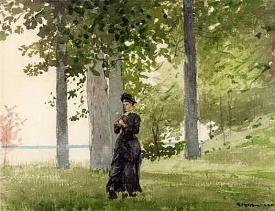 Winslow Digital Art - Woman With Flower by Winslow Homer