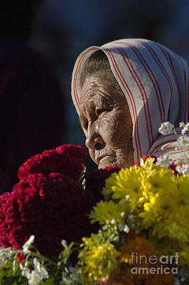 Mexicano Photograph - Woman With Flowers - Day Of The Dead Mexico by Craig Lovell