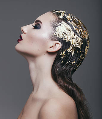 Eyes Closed Photograph - Woman With Foil Hairstyle by Lambada