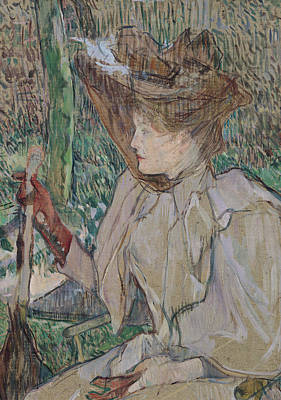Gloves Drawing - Woman With Gloves by Henri de Toulouse-Lautrec