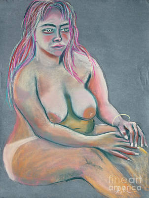 Plump Women Wall Art - Painting - Woman With Green Eyes by Asha Carolyn Young