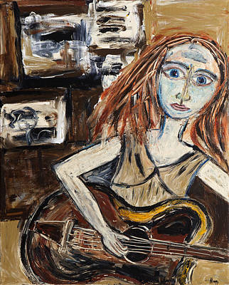 Woman With Guitar Art Print by Maggis Art