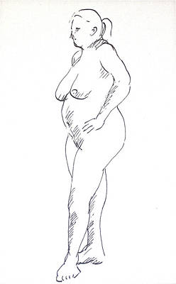 Hip Drawing - Woman With Hands On Hips by Deborah Dendler
