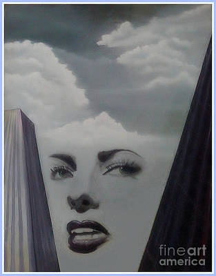 Painting - Woman With Head In Clouds by Angie Staft