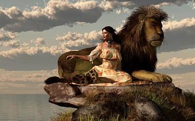 Male Lion Digital Art - Woman With Lion by Daniel Eskridge