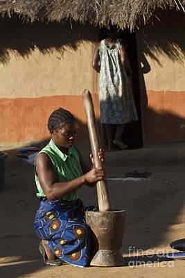 Woman With Mortar Original by Lucas Guardincerri