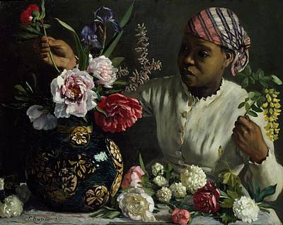 Flowerpot Painting - Woman With Peonies by Frederic Bazille