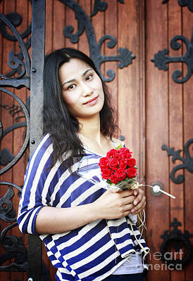 Photograph - Woman With Rose Bouquet by Charline Xia