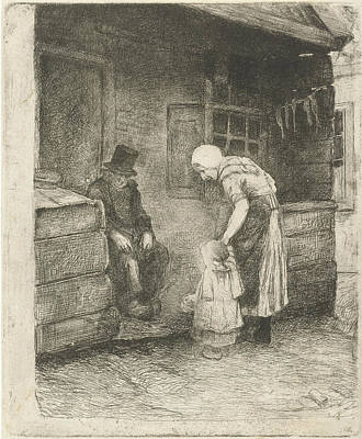 Children Sitting Drawing - Woman With Small Child Is Sitting At Home Working For Old by Bernardus Johannes Blommers