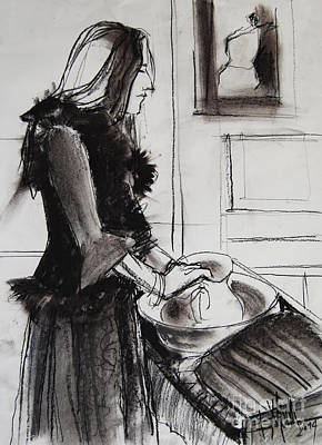 Woman With Small Pitcher - Model #6 - Figure Series Art Print by Mona Edulesco