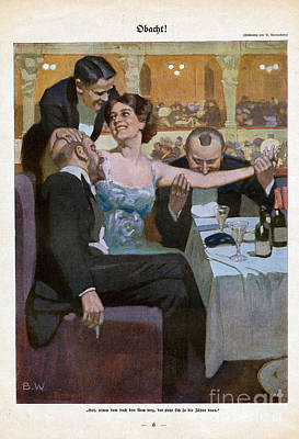 Prostitution Drawing - Woman With Suitors In Restaurant 1920s by The Advertising Archives