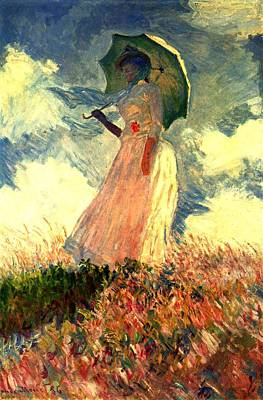 Sunshade Painting - Woman With Sunshade by Claude Monet