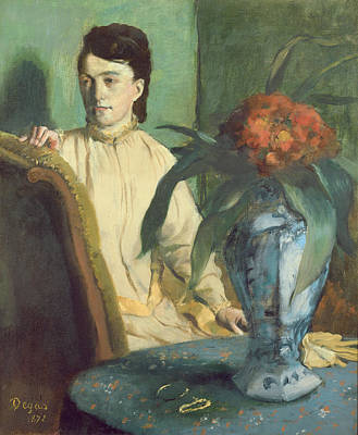 Interior Still Life Painting - Woman With The Oriental Vase by Edgar Degas