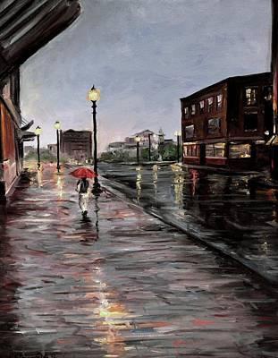 Boston Painting - Woman With The Red Umbrella by Karen Strangfeld