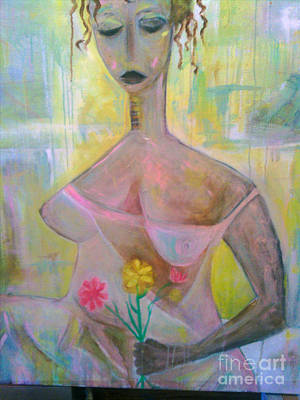 Robert Daniels Painting - Woman With Three Flowers by Robert Daniels