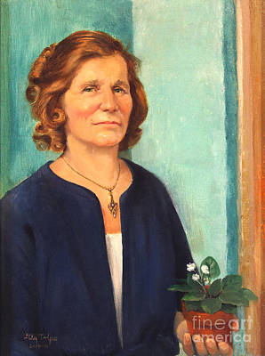 1950s Portraits Painting - Woman With Violets by Art By Tolpo Collection