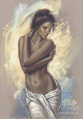 Nude Digital Art - Woman With White Drape by Zorina Baldescu