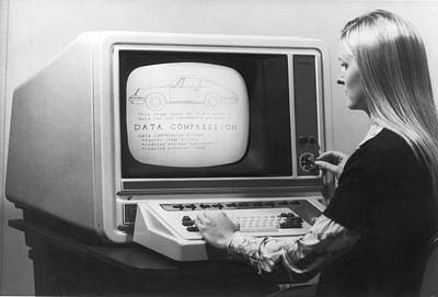 Typing Photograph - Woman Working At 1975 Monitor by Underwood Archives