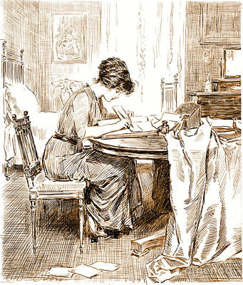 Charles Gibson Photograph - Woman Writing Letters 1911 by Padre Art