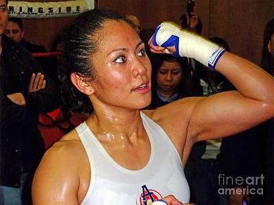 Artist Working Photograph - Woman's Boxing Champion Filipino American Ana Julaton On The Speed Bag by Jim Fitzpatrick