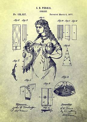 Lace Mixed Media - Woman's Corset Patent by Dan Sproul