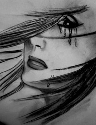 Tears Drawing - Woman's Eyes by Ankita Mahapatra