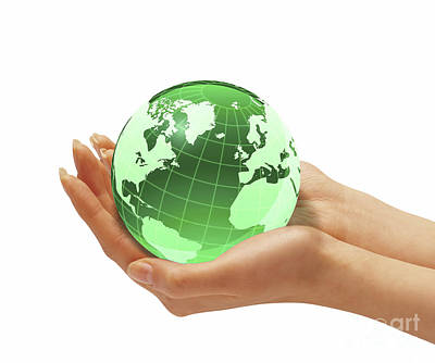 Womans Hands Holding An Earth Globe Art Print by Leonello Calvetti