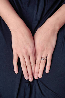 Gold Engagement Ring Photograph - Woman's Hands by Tom Gowanlock