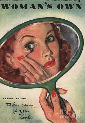 Woman�s Own 1944 1940s Uk Make-up Art Print by The Advertising Archives