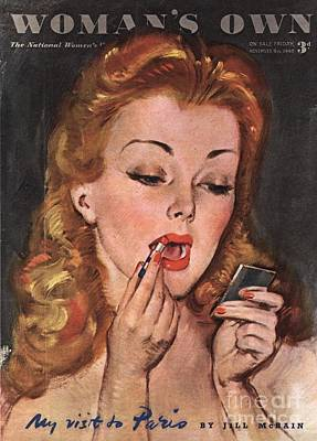 WomanÕs Own 1945 1940s Uk Make-up Print by The Advertising Archives