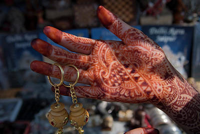 Woman's Palm Decorated In Henna Art Print by Keren Su