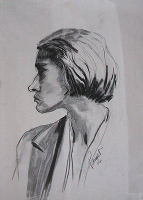 Drawing - Woman's Profile by Phyllis Anne Taylor Pannet Art Studio
