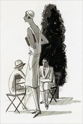 Chairs Digital Art - Women And A Man By A Tree by Porter Woodruff