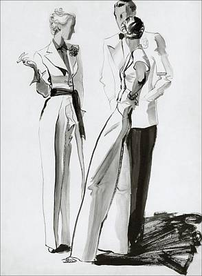 Fashion Illustration Wall Art - Digital Art - Women And A Man In Suits by Rene Bouet-Willaumez