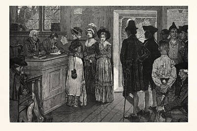 Women At The Polls In New Jersey In The Good Old Times, Us Print by Pyle, Howard (1853-1911) (after), American