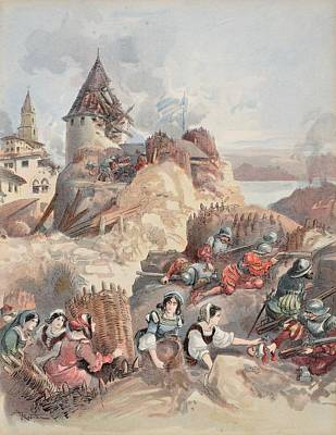 Imperial Drawing - Women At The Siege Of Marseille by Albert Robida