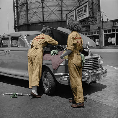 Photograph - Women Auto Mechanics by Andrew Fare