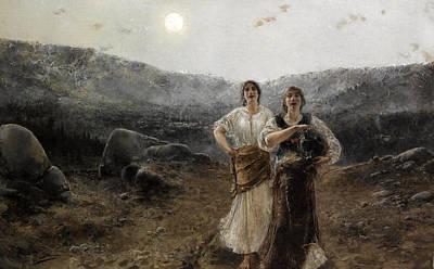 Women By Moonlight Art Print by Agustin Salinas y Teruel