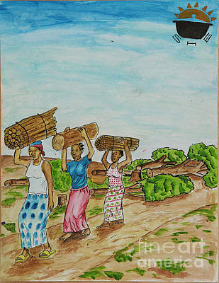 Drawing - Women Carrying Logs To Cook by Lunda Vincente