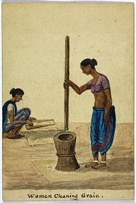 Women Cleaning Grain Print by British Library