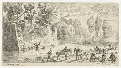 Women Do Laundry At A Canal, Anonymous, Pierre Drevet Print by Anonymous And Pierre Drevet
